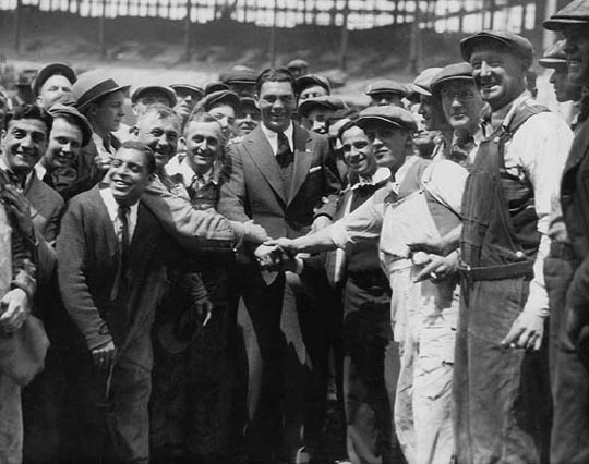 Boxer Max Schmeling at Municipal Stadium, Cleveland, OH with construction workers June, 1931