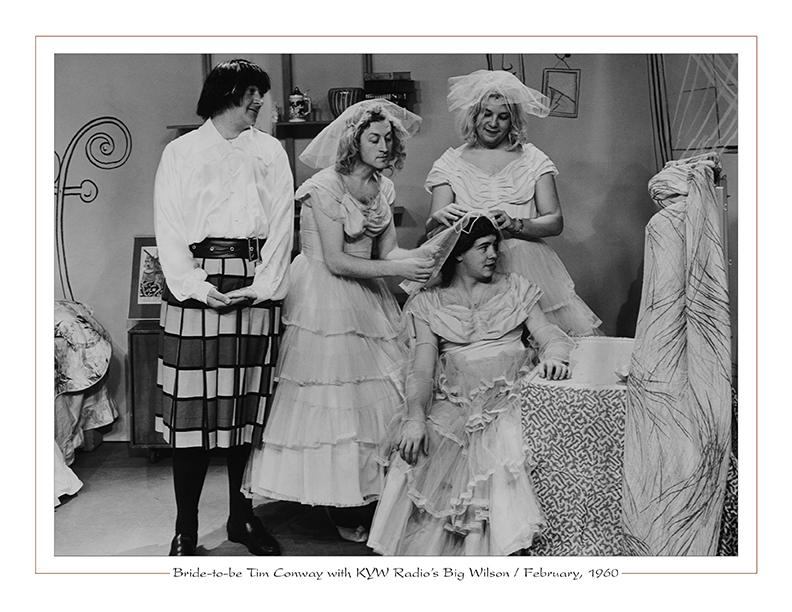 Cleveland Radio-TV Ghoulardi / Bride-to-be Tim Conway with KYW Radio's Big Wilson / February, 1960