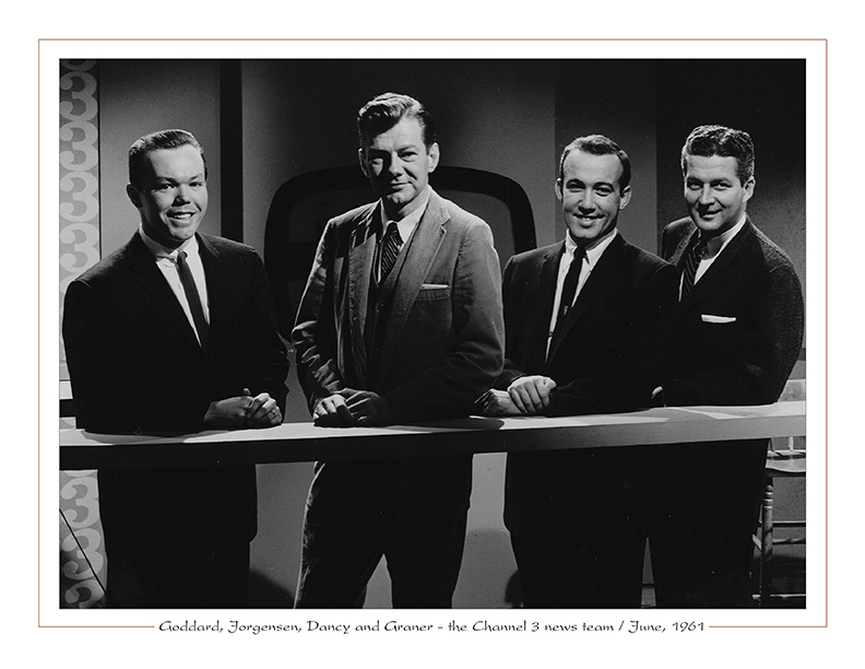 Cleveland Radio-TV Ghoulardi / Dick Goddard, Bill Jorgensen, Bud Dancy, Jim Graner - the Channel 3 news team / June, 1961