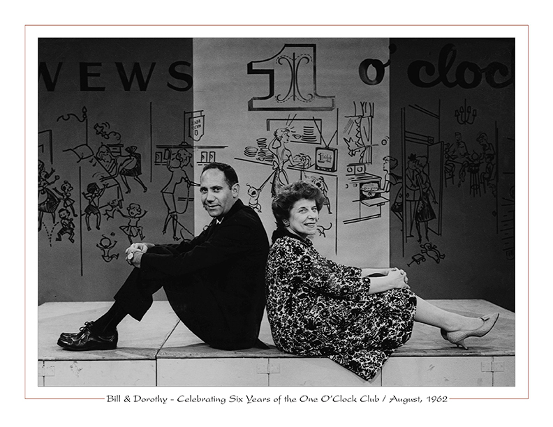 Cleveland Radio-TV / Bill Gordon with Dorothy Fuldheim celebrate six years of the One O'Clock Club on WEWS-TV5 / August, 1962