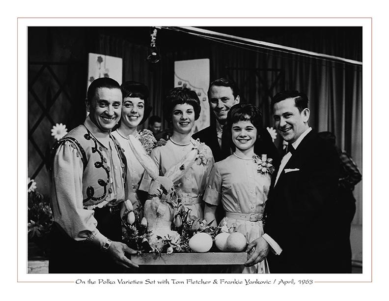 On WEWS-TV5's Polka Varieties Set with Tom Fletcher, Frankie Yankovic, the Edward Sisters, Ll'l Wally, April, 1963