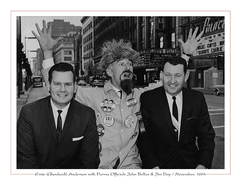 Cleveland Radio-WJW-TV8 / Ernie (Ghoulardi) Anderson with Parma officials John Bellas, Jim Day / November, 1964