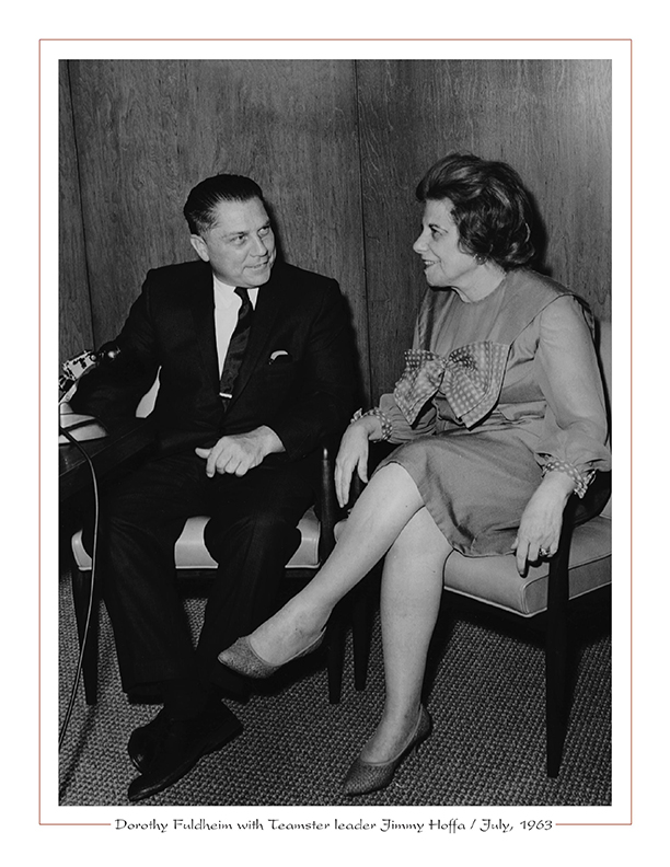 Cleveland Radio-TV / WEWS-TV5's Dorothy Fuldheim with Teamster leader Jimmy Hoffa / July, 1963