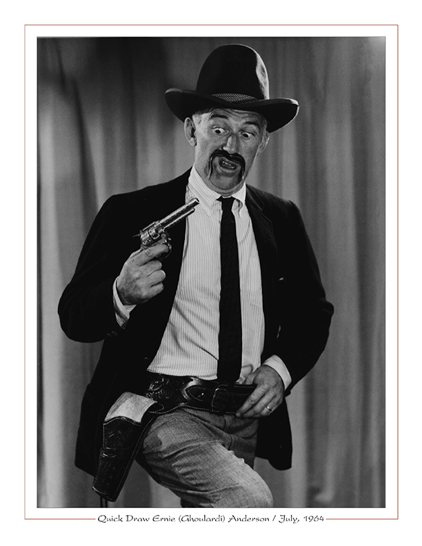 Cleveland Radio-WJW-TV8 Ghoulardi / Quick Draw Ernie (Ghoulardi) Anderson with six-shooter / July, 1964