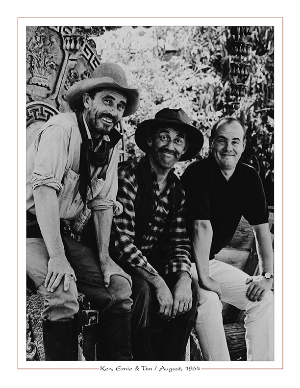 Cleveland Radio-WJW-TV8 Ghoulardi / Ken Curtis, Ernie Anderson, Tim Conway on Gunsmoke set / August, 1964