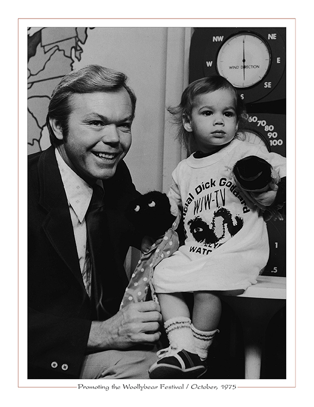 Cleveland Radio-TV Ghoulardi / Dick Goddard with 2-year-old Paige Mueller promoting the Woollybear Festival / October, 1975