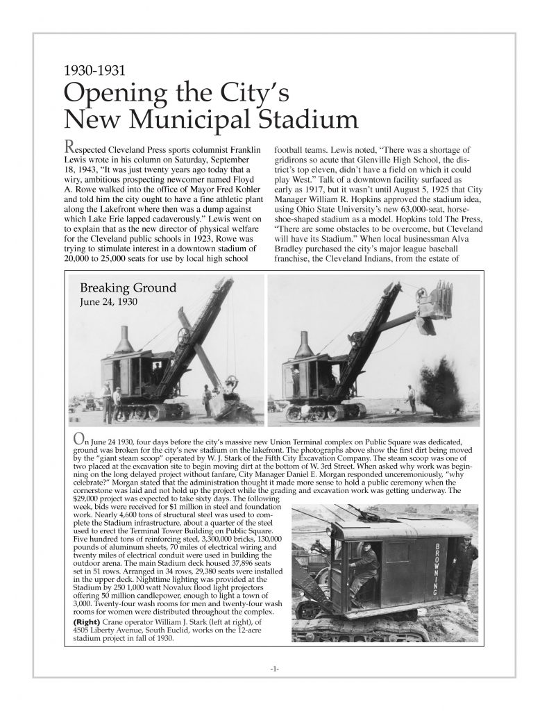 P. 1 / Cleveland Sports History: Breaking ground for Municipal Stadium Fifth City Excavating, W. J. Stark- 1930