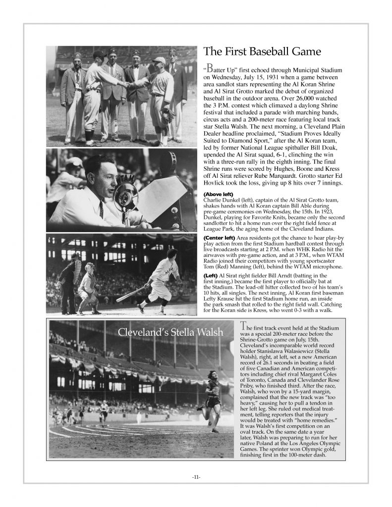 P. 11 / Cleveland Sports History: Municipal Stadium Shriner's Convention, baseball, Al Sirat Grotto, Al Koran Shrine, Red Manning WHK Radio, Bill Arndt, Stella Walsh 1931