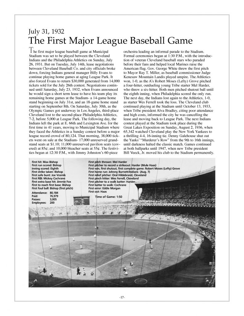P. 17 / Cleveland Sports History: Municipal Stadium 1st major league baseball game, Indians vs. Philadelphia Athletics 1932