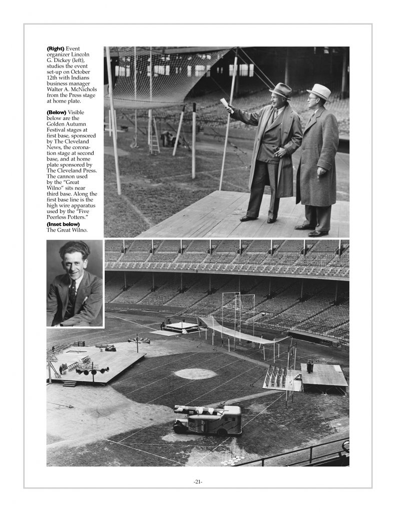 P. 21 / Cleveland Sports History: Municipal Stadium Golden Autumn Festival Lincoln Dickey, the Great Wilno- 1933