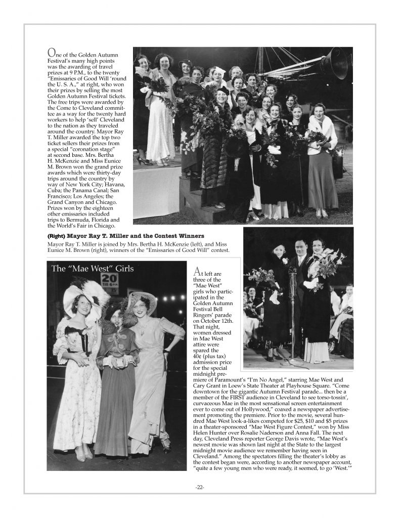 P. 22 / Cleveland Sports History: Municipal Stadium Golden Autumn Festival Ray T. Miller, Mae West Girls 1933