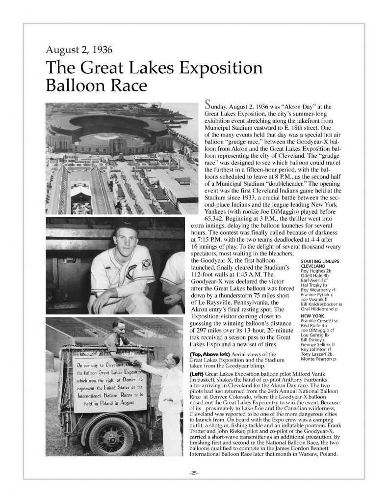 P. 25 / Cleveland Sports History: Municipal Stadium Great Lakes Exposition Balloon Race, Akron Day, Goodyear of Akron, Milford Vanik, 1936