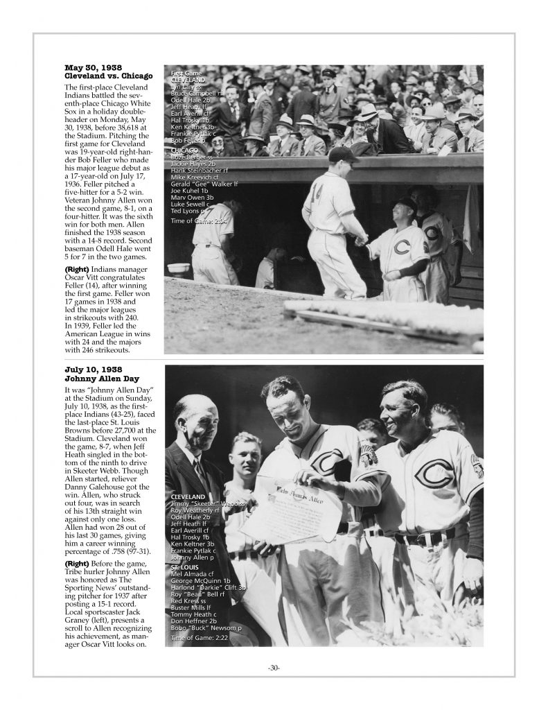 P. 30 / Cleveland Sports History: Municipal Stadium Bob Feller, 1936 / Johnny Allen Day with Oscar Vitt, Jack Graney 1938