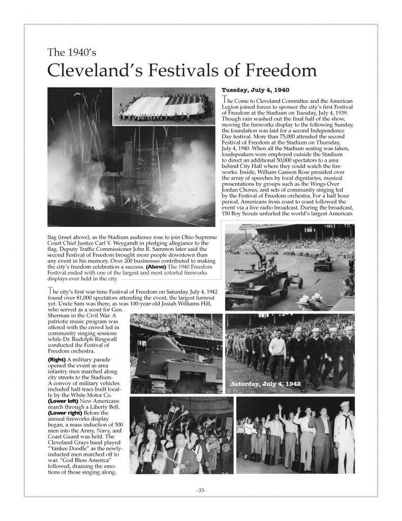 P. 33 / Cleveland Sports History: Municipal Stadium Festivals of Freedom, White Motor Co. half-tracs 1940, 1942