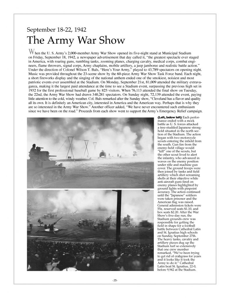 P. 35 / Cleveland Sports History: Municipal Stadium Army War Show, tanks, artillery 1942