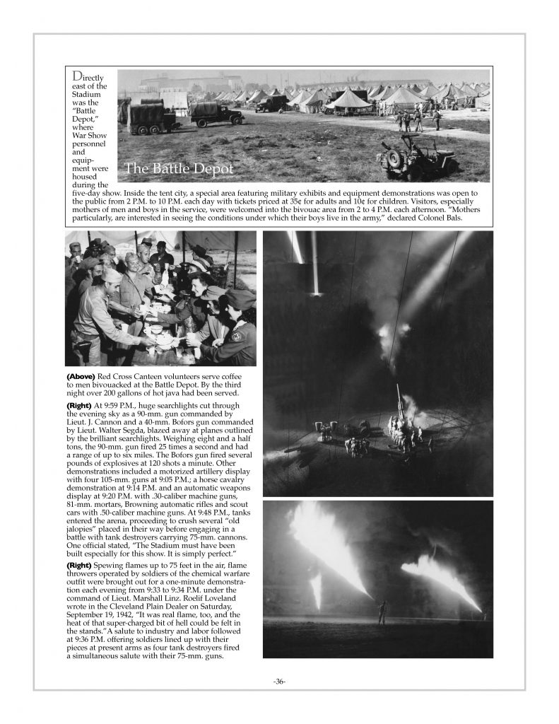 P. 36 / Cleveland Sports History: Municipal Stadium Army War Show, Battle depot, Red Cross Canteen, flame throwers 1942
