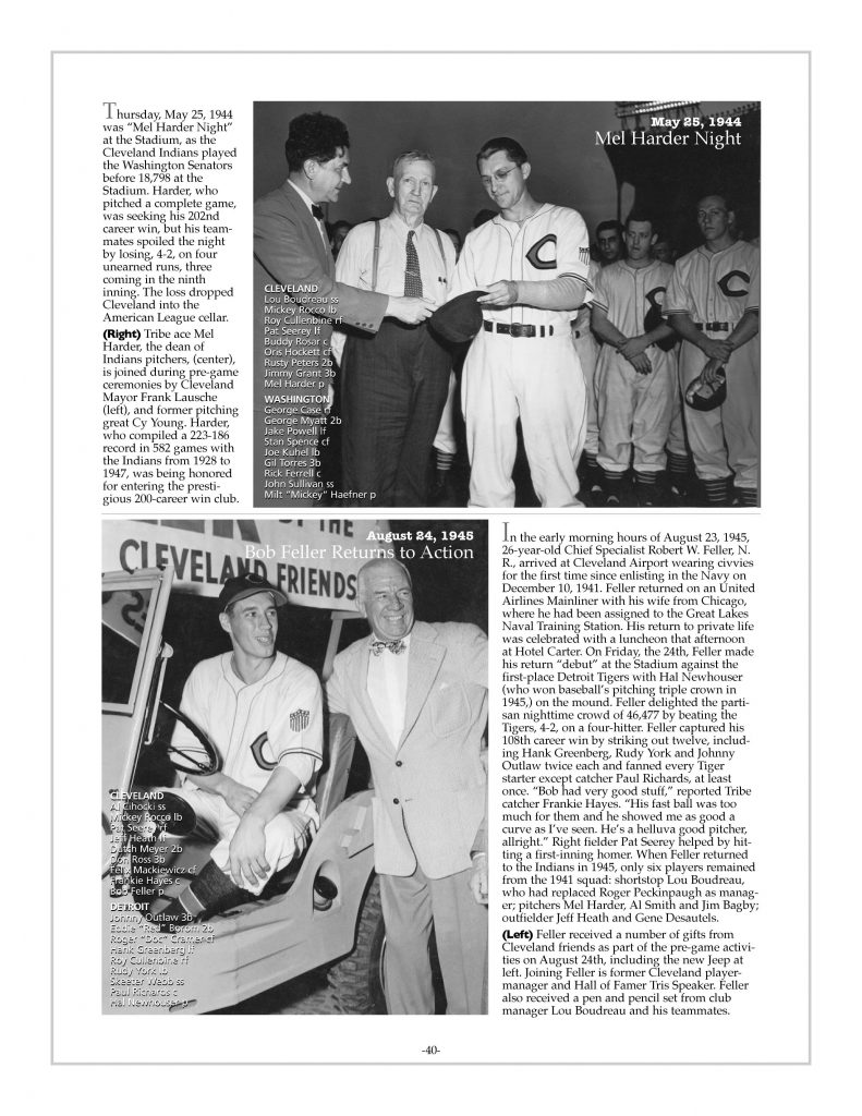 P. 40 / Cleveland Sports History: Municipal Stadium Mel Harder Night Cy Young, Mayor Lausche- 1944 / Bob Feller Returns, Tris Speaker- 1945