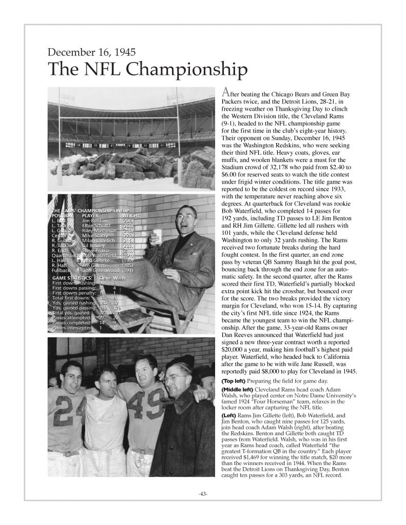 P. 43 / Cleveland Sports History: Municipal Stadium Cleveland Rams win NFL Championship, Jim Gillette, Bob Waterfield, Jim Benton, coach Adam Walsh- 1945