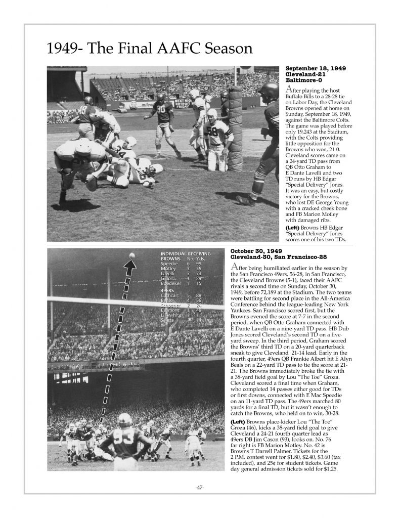 P. 47 / Cleveland Sports History: Municipal Stadium Browns vs. Colts, Edgar Jones scores 1949 / Browns vs. 49ers, Lou Groza FG 1949
