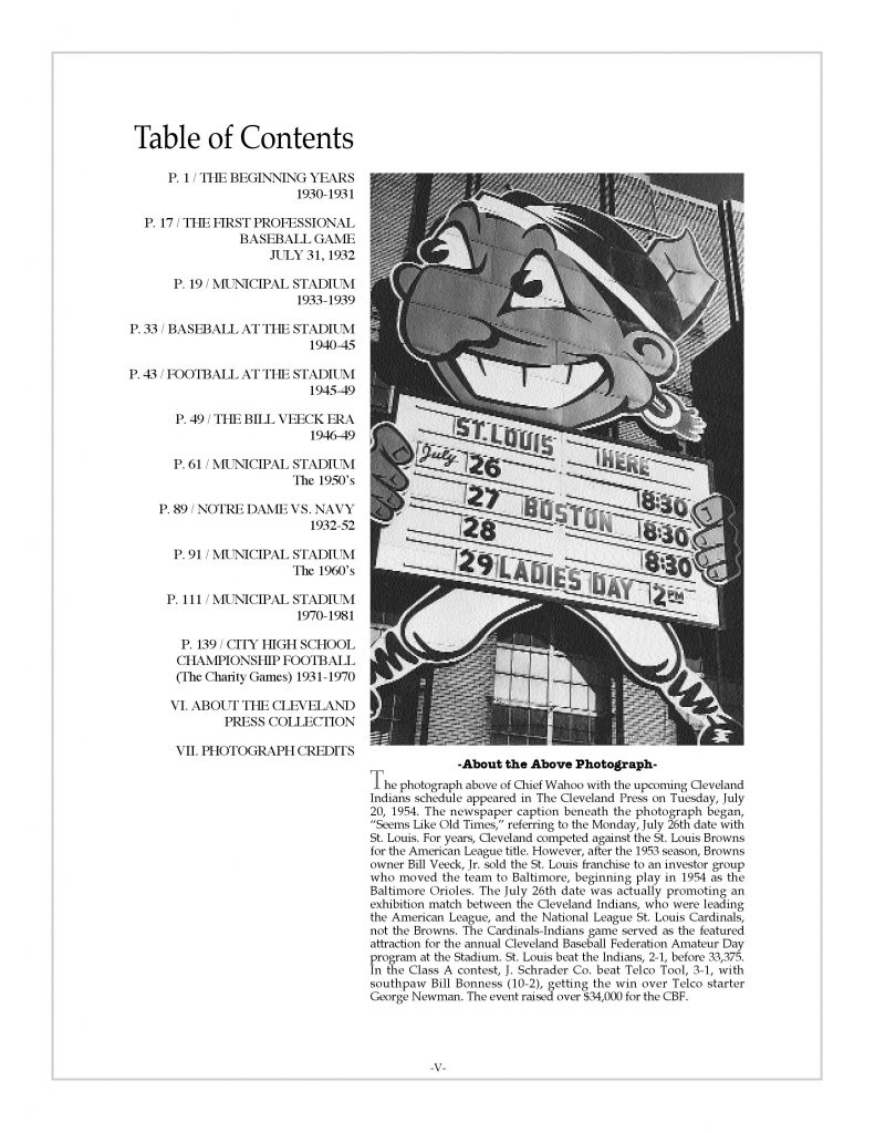 Cleveland sports history book: Municipal Stadium Memories on the Lakefront Table of Contents with Chief Wahoo holding upcoming schedule, July, 1954