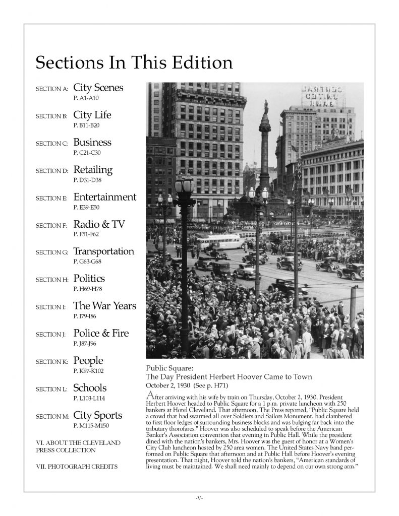 Cleveland history book: Memories of a Lifetime Vol. 1 Table of Contents with streetcars, traffic on Public Square, October, 1930